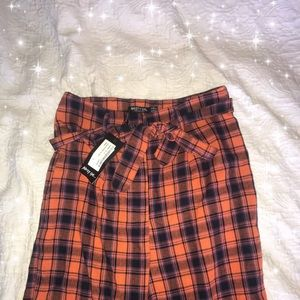 Blue and orange/pink plaid pants